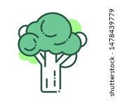 broccoli color line icon....