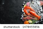 Seafood On Stone Background....