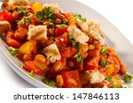 roasted meat and vegetables  | Shutterstock . vector #147846113