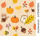 the pattern of autumn leaf and... | Shutterstock .eps vector #1478485883