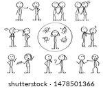 set of stick men managing... | Shutterstock .eps vector #1478501366