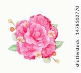 branches of pink rose hand... | Shutterstock . vector #1478502770