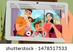 calling relatives from seaside... | Shutterstock .eps vector #1478517533