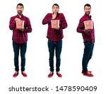 set of handsome man eating... | Shutterstock . vector #1478590409