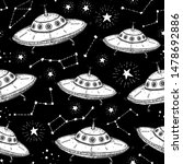 hand drawn ufo seamless pattern.... | Shutterstock .eps vector #1478692886