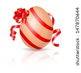 Single Easter Egg with red ribbon. Illustration on white - stock vector