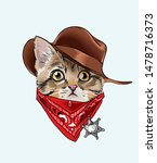 Stock vector  little kitten in cowboy costume illustration 1478716373
