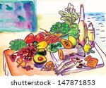 still life. fishes  fruit and... | Shutterstock .eps vector #147871853