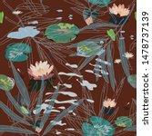 water lilies on a burgundy... | Shutterstock .eps vector #1478737139