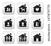 home  family vector buttons set  | Shutterstock .eps vector #147879770