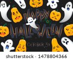 halloween poster with lettering ... | Shutterstock .eps vector #1478804366
