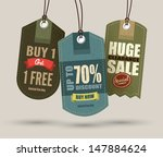 vintage style sale tags design | Shutterstock .eps vector #147884624