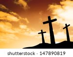 three crosses on a hill | Shutterstock . vector #147890819