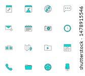 filled line blue ui icons set....