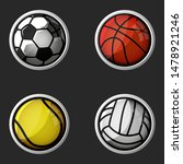 sport equipment set 3d icons ...