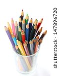 Colorful pencil in the glass, isolate on white background - stock photo