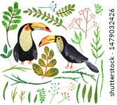 abstract hand painted birds and ... | Shutterstock . vector #1479032426