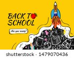 back to school with rocket and... | Shutterstock .eps vector #1479070436
