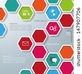 colored hexagons with shadows...   Shutterstock .eps vector #147907706