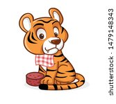 Tiger Character Mascot Eat Meat ...