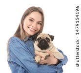 Stock photo beautiful young woman with cute pug dog on white background 1479154196