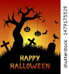 halloween graveyard with... | Shutterstock .eps vector #1479175529