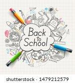 back to school concept doodles. ... | Shutterstock .eps vector #1479212579