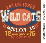 wild cats vintage varsity... | Shutterstock .eps vector #1479280139