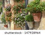 Typical Mediterranean Village with Flower Pots in Facades in Valldemossa, Mallorca, Spain ( Balearic Islands ) - stock photo