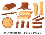 Set Of Wood Logs For Lumber...