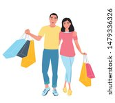 happy people go with bags in... | Shutterstock .eps vector #1479336326