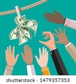 wet dollar bills hanging on... | Shutterstock .eps vector #1479357353
