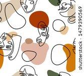 continuous line face women...   Shutterstock .eps vector #1479390569