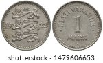 Estonia Estonian coin 1 one mark 1922, three lions divide date, country name and denomination