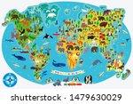animal map of the world for... | Shutterstock .eps vector #1479630029