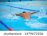 athletic man swimming in... | Shutterstock . vector #1479672326