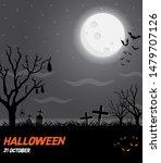 happy halloween vector poster.... | Shutterstock .eps vector #1479707126