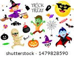 halloween cartoon set with cute ... | Shutterstock .eps vector #1479828590