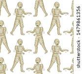 seamless pattern egyptian mummy ... | Shutterstock .eps vector #1479861356