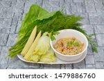 Stock photo mackerel chili paste nam prik pla too clean food eat with fresh vegetables thai food 1479886760