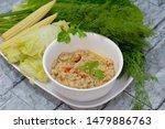 Stock photo mackerel chili paste nam prik pla too clean food eat with fresh vegetables thai food 1479886763