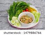 Stock photo mackerel chili paste nam prik pla too clean food eat with fresh vegetables thai food 1479886766
