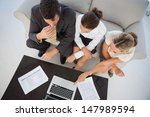 overhead view of colleagues... | Shutterstock . vector #147989594