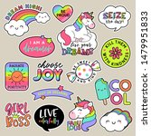 set of fashion patches  cute... | Shutterstock .eps vector #1479951833