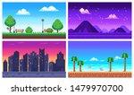 Pixel Art Landscape. Summer...