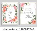 polygonal red frame  pink roses ... | Shutterstock .eps vector #1480017746