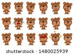 big set of funny teddy bear in... | Shutterstock .eps vector #1480025939