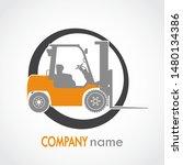 forklift circle logistic orange ... | Shutterstock .eps vector #1480134386