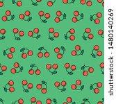 seamless cherry pattern on... | Shutterstock .eps vector #1480140269