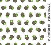 seamless kiwi pattern on yellow ... | Shutterstock .eps vector #1480140329